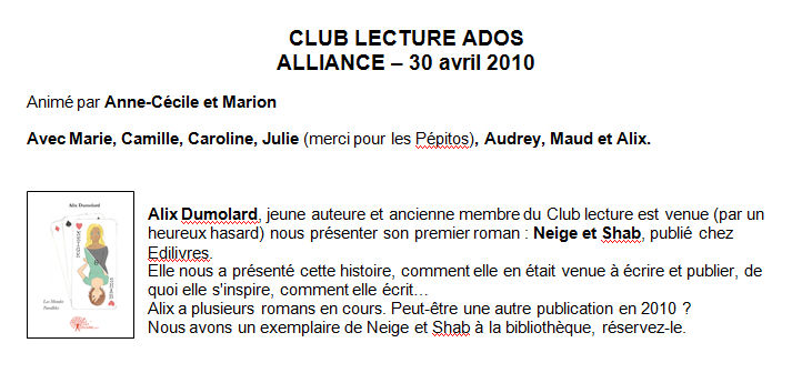 Intervention au club de lecture de la bibliothèque municipale de l'Alliance (Grenoble)